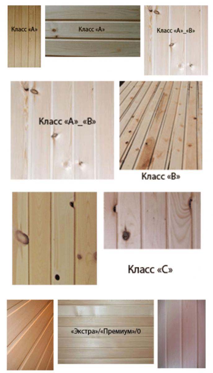 Классификация деревянной вагонки
