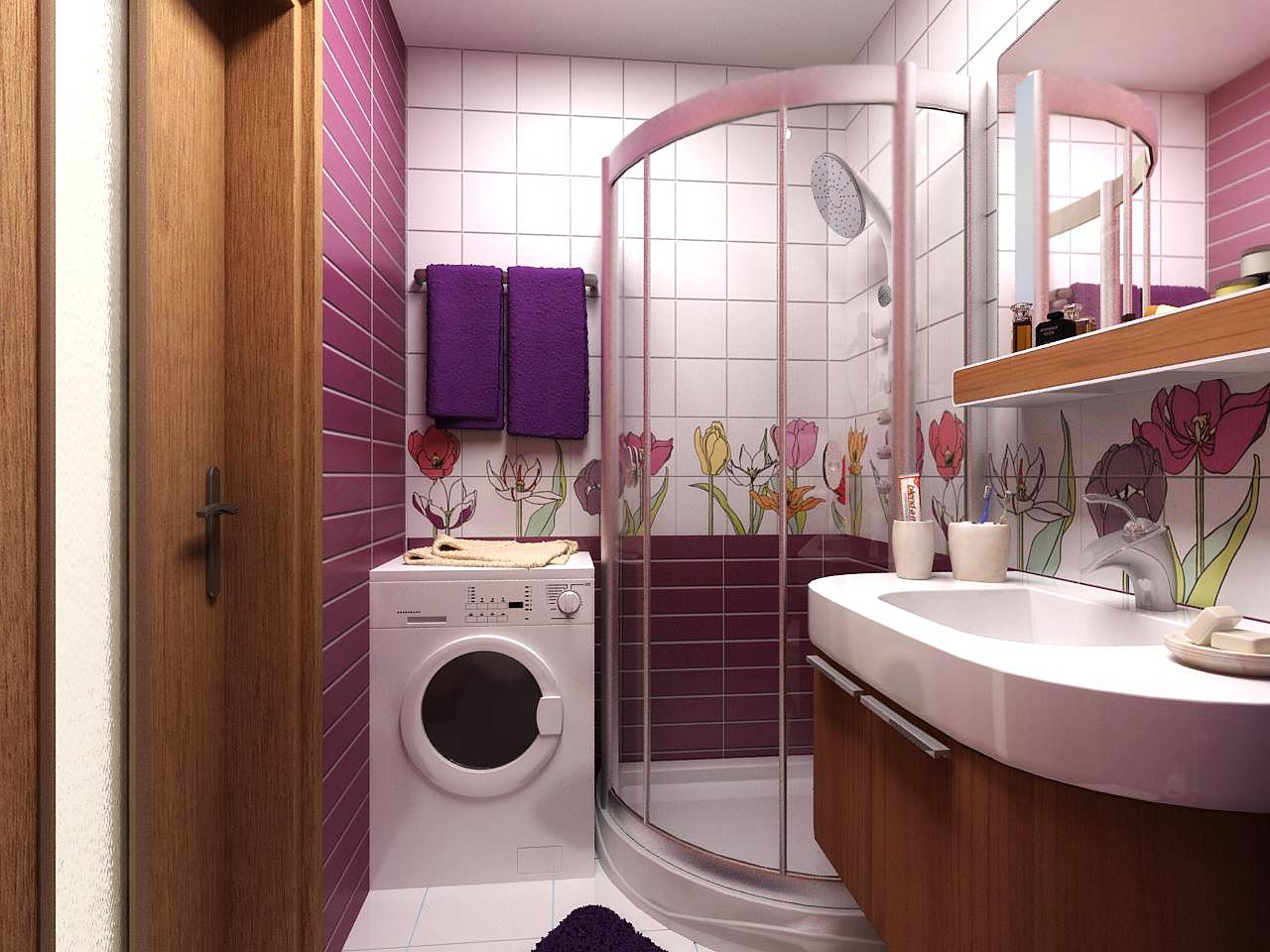 Дизайн маленькой ванной с туалетом и стиральной машинкой