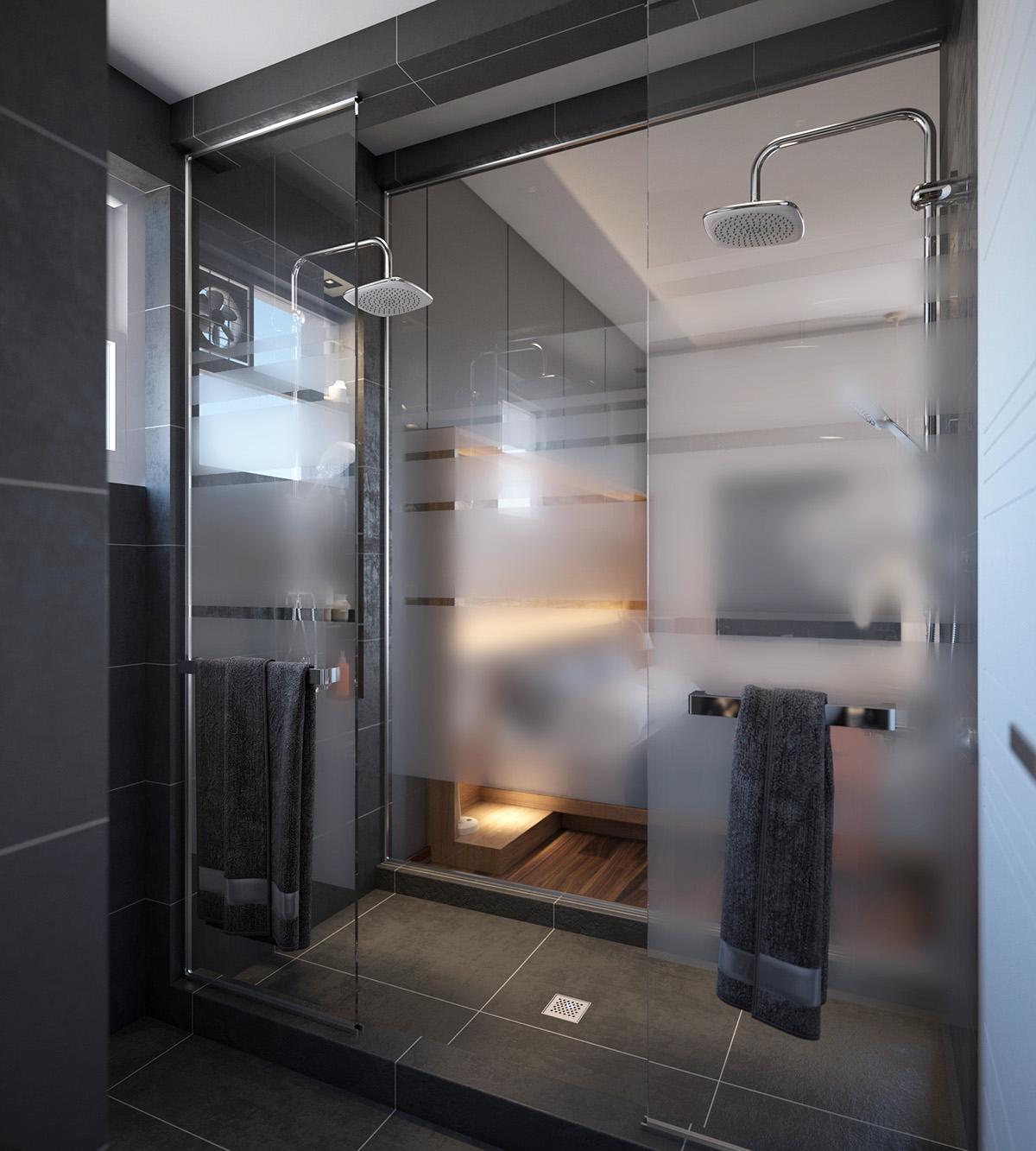 Раздвижной вид штор из пластика для ванной 2