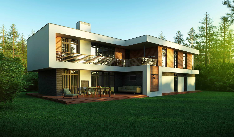 Фасад двухэтажного дома 2