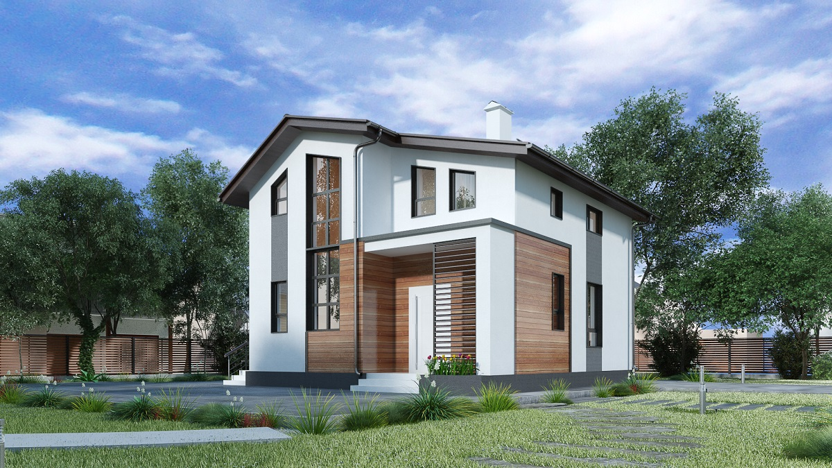 Фасад двухэтажного дома 4