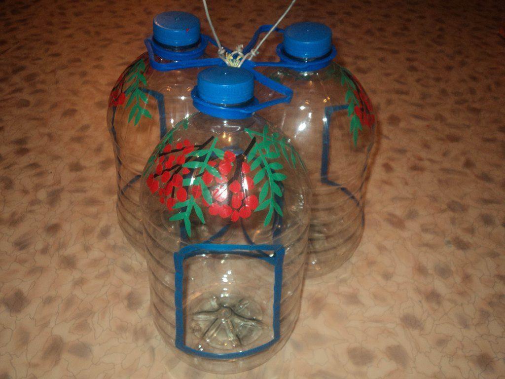 Кормушка из 5 литровой пластиковой бутылки своими руками фото