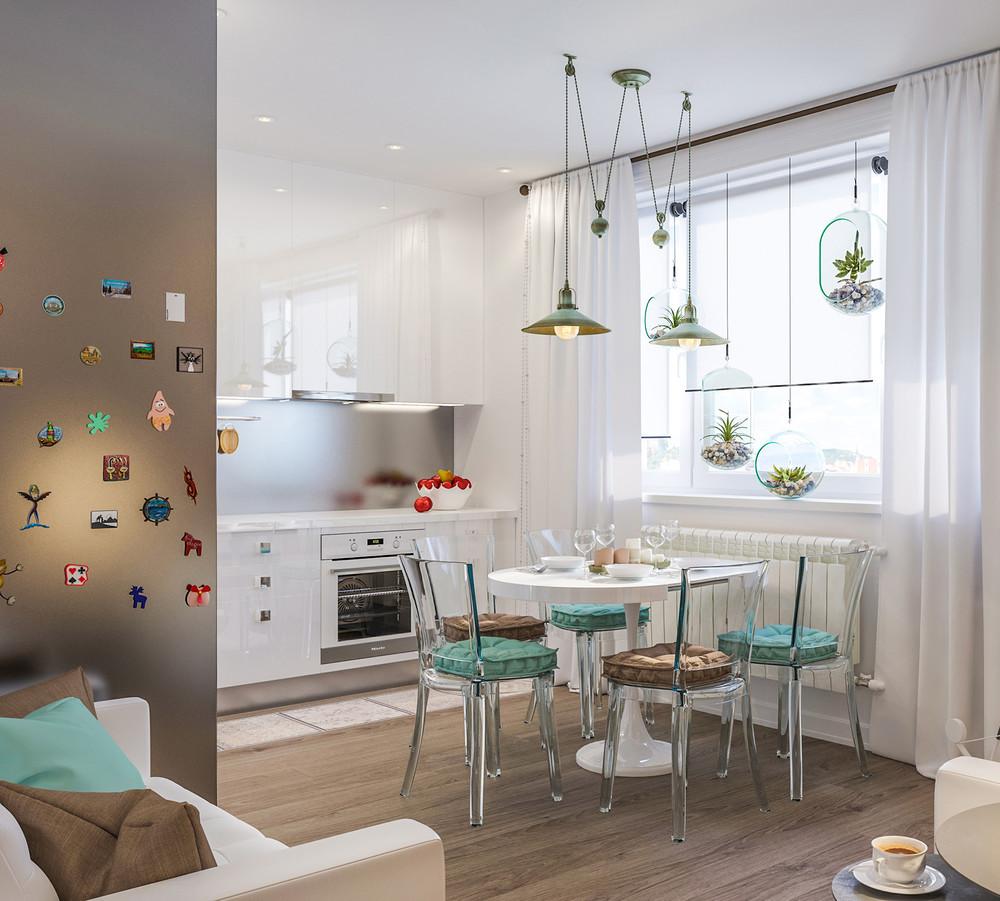 Светлая кухня-гостиная с бирюзовыми акцентами