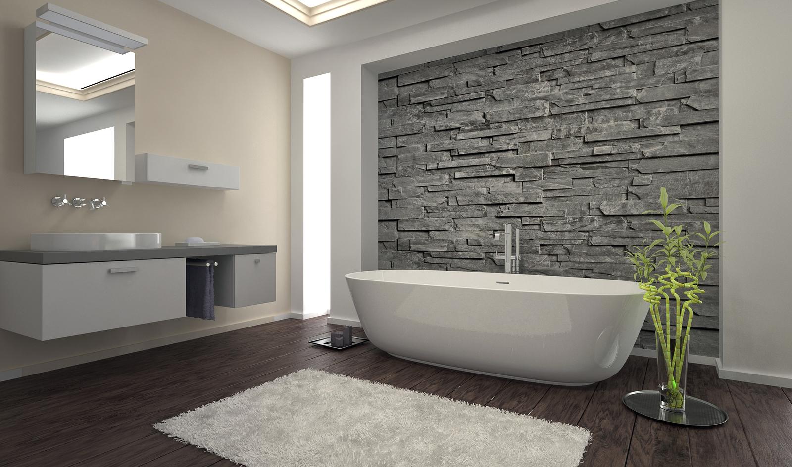 Бело-серая палитра ванной комнаты