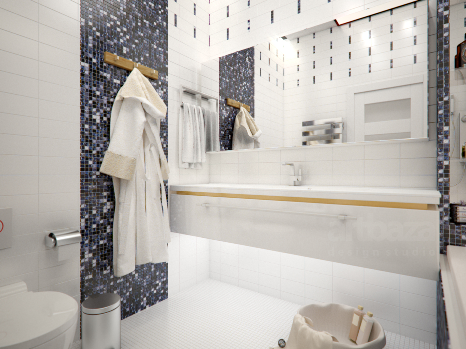 Дизайн ванной комнаты в морском стиле с мозаикой фабрики Dune