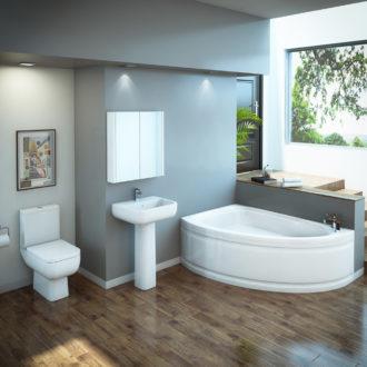 Угловая ванная комната — лучшие фото интерьера