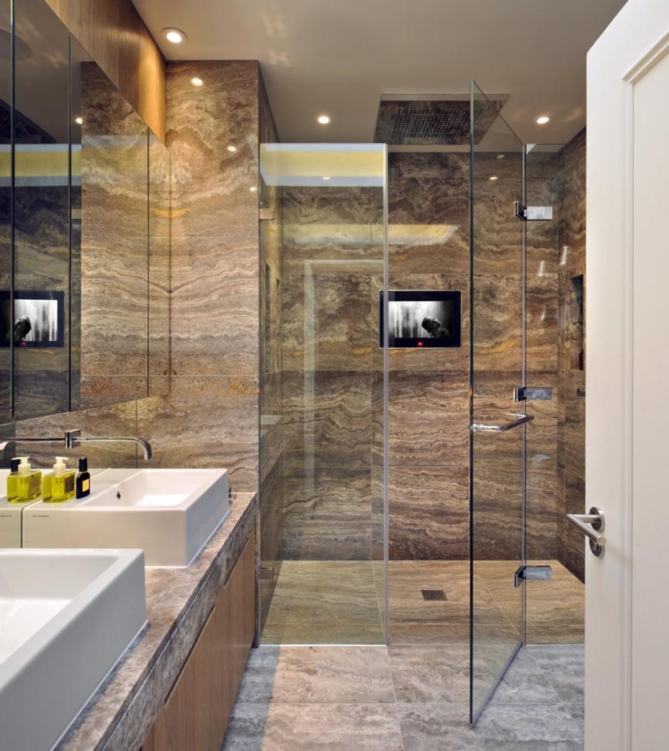 Дизайн ванной комнаты под мрамор