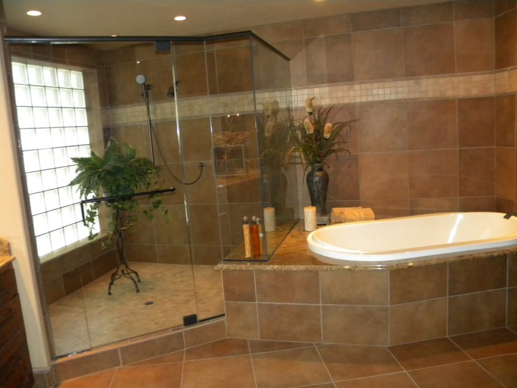 Tiled bathroom showers