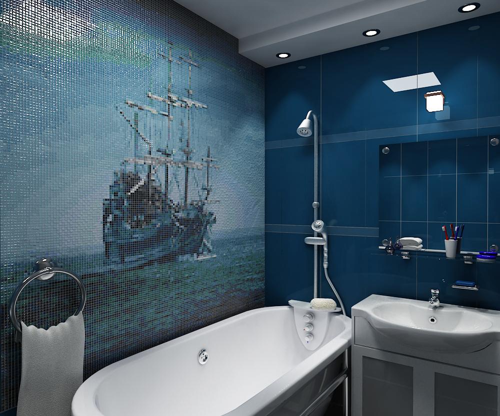 Ванная комната мозаика синяя интерьер ванных комнат 6