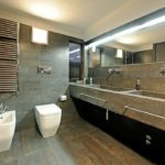 stunning-bathroom-design-presenting-concrete-double-bathroom-vanity-undel-large-wall-mirror-and-chrome-polished-metal-towel-bar-over-white-acryli
