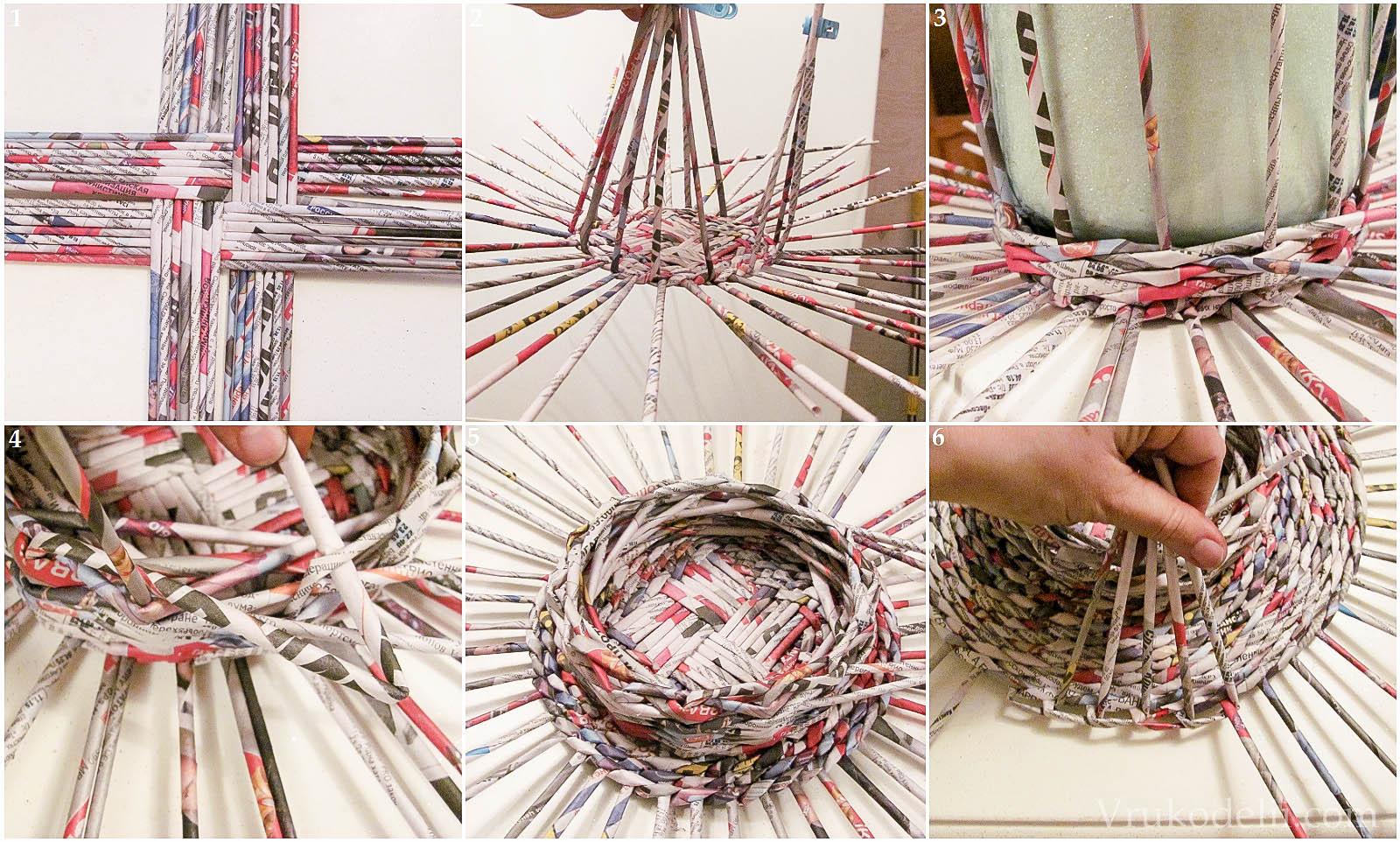Плетение корзин из трубочек газетных трубочек