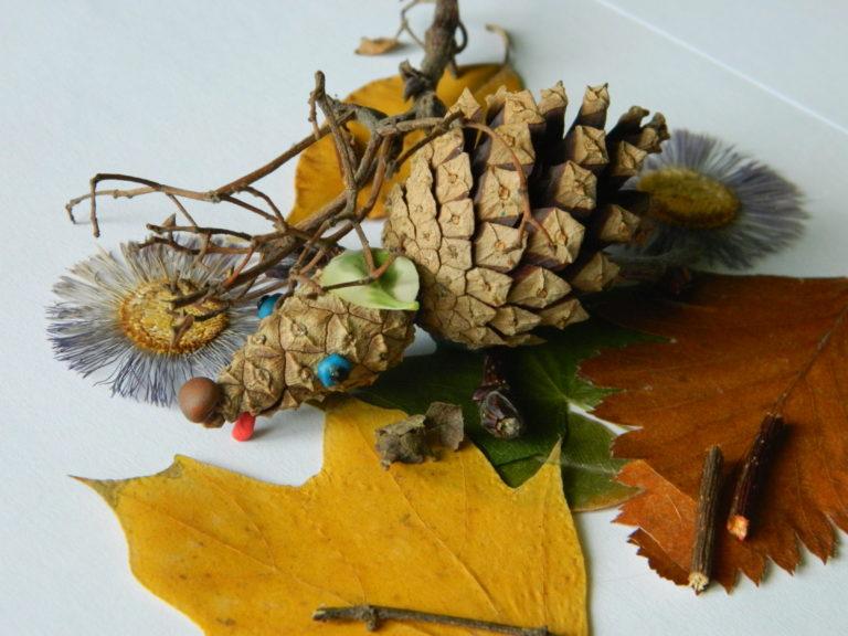 Фото поделок из шишек и листьев своими руками