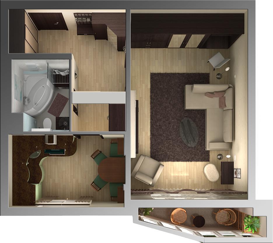Дизайн как из однокомнатной квартиры сделать двух