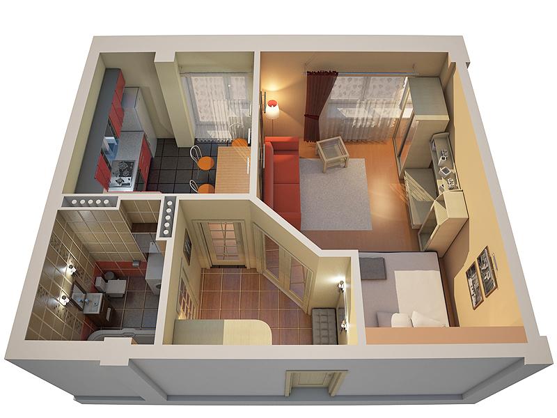 Дизайн проект 1 комнатной квартиры 32 квм