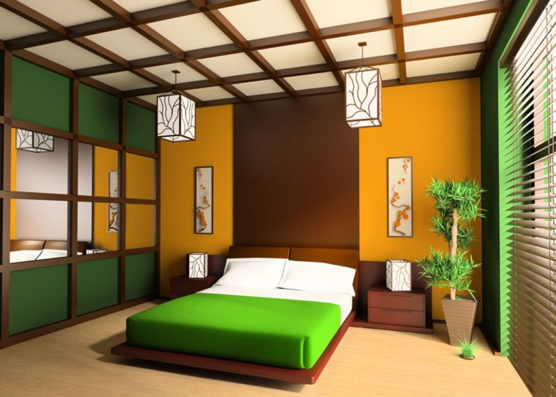 зеленый дизайн интерьера