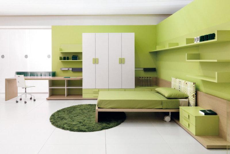 зелёные стены в интерьере