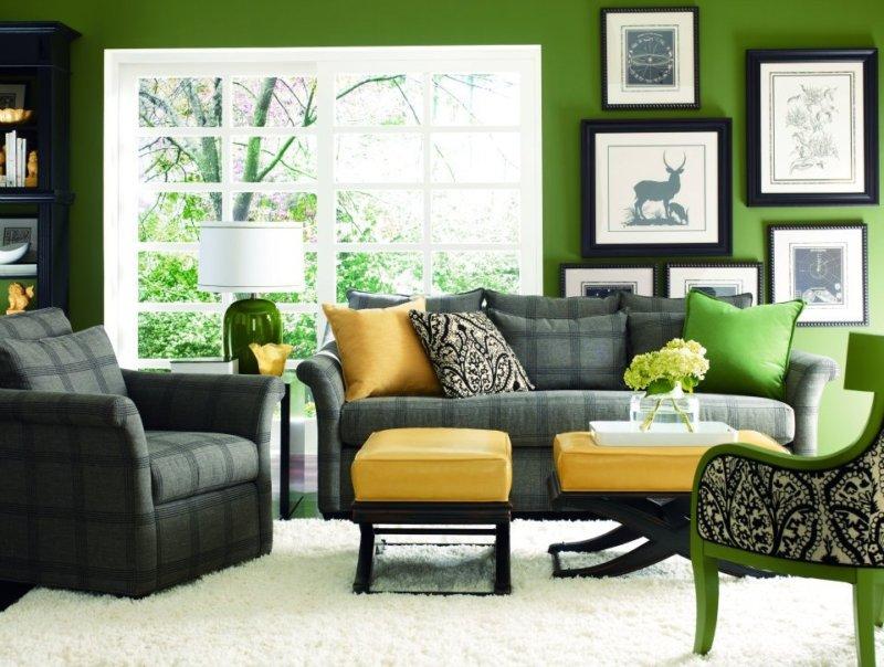 Зелёный цвет в интерьере — 30 фото идей