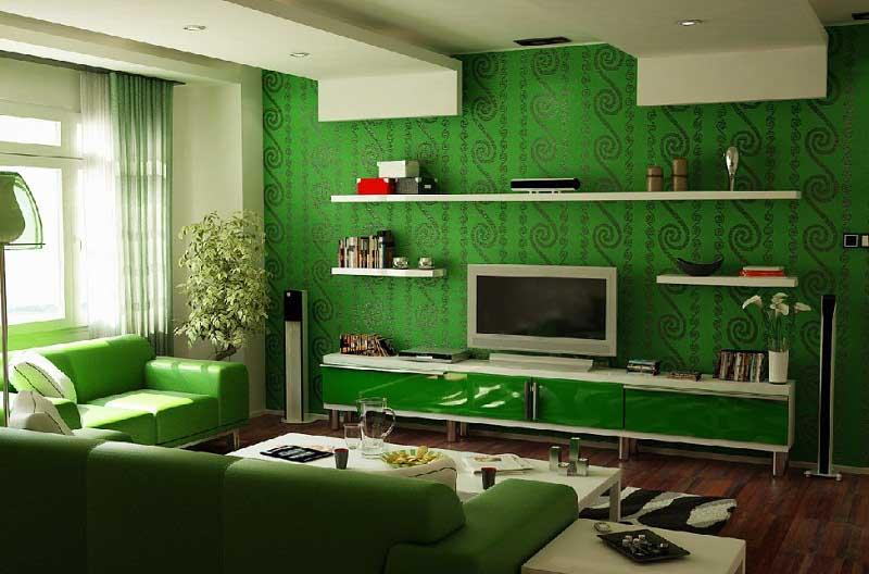 какой цвет сочетается с зеленым в интерьере
