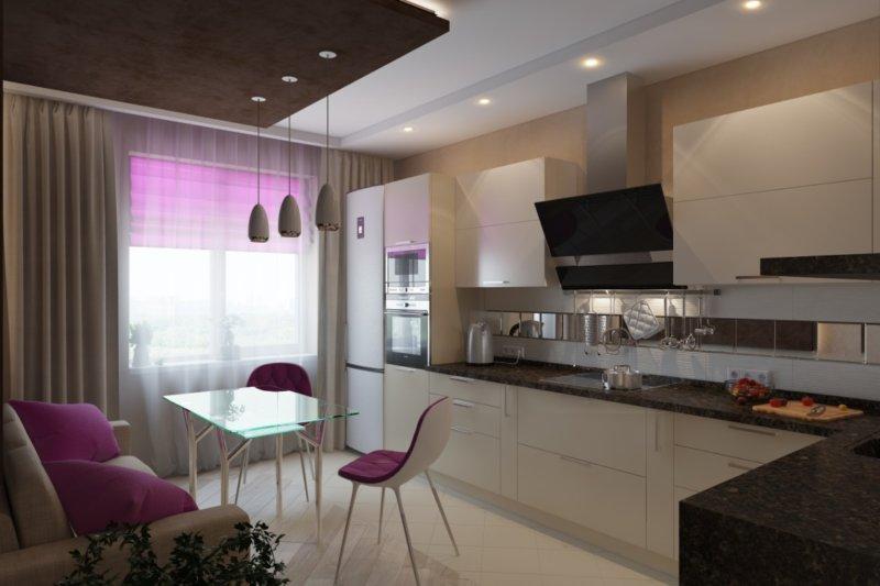 Дизайн кухни 15 кв.м с выходом на балкон и диваном