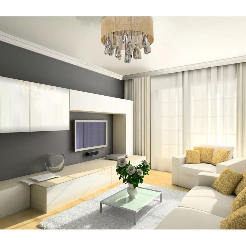 современный ремонт гостиной