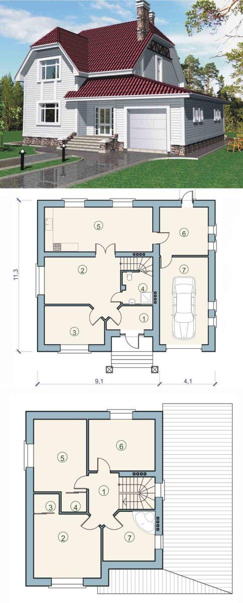 планировка одноэтажного дома с мансардой