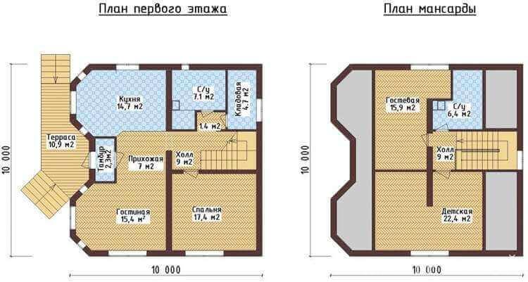 проекты одноэтажных домов с мансардой чертеж