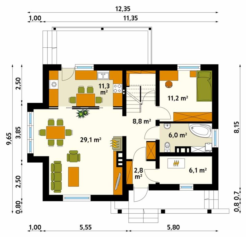 красивые одноэтажные дома с мансардой