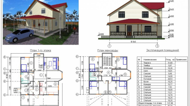 Планировка одноэтажного дома с мансардой. 55 фото проектов