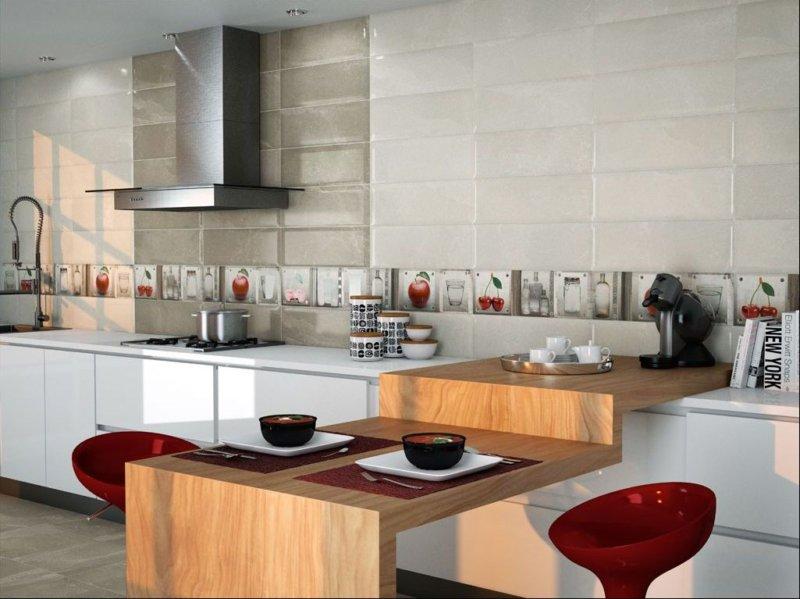 керамическая плитка в интерьере кухни