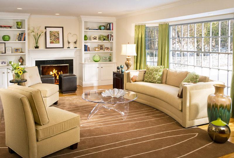 дизайн гостиной в светлых тонах современный стиль