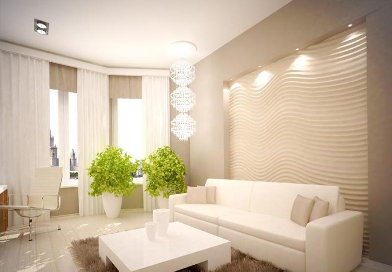 Интерьер светлой гостиной фото