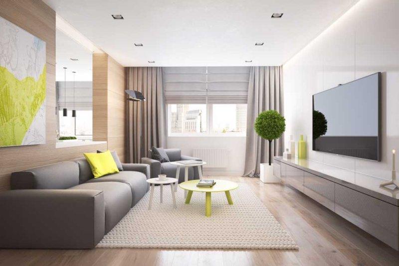 дизайн светлой гостиной фото
