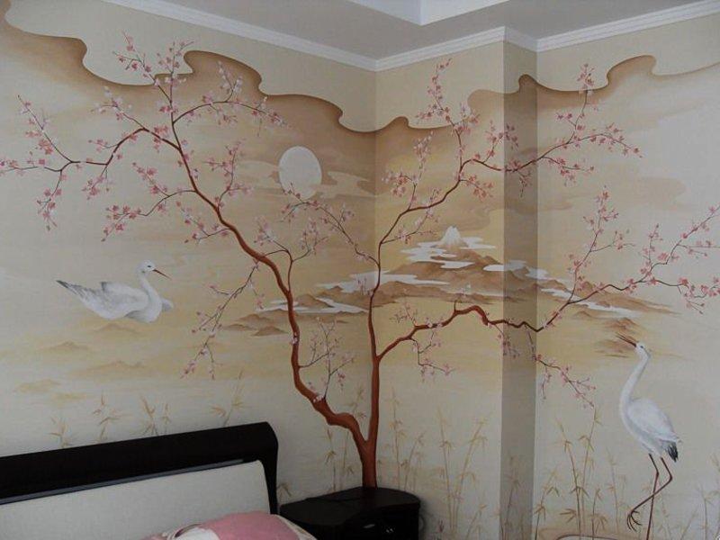 Художественная роспись стен в интерьере - 45 фото
