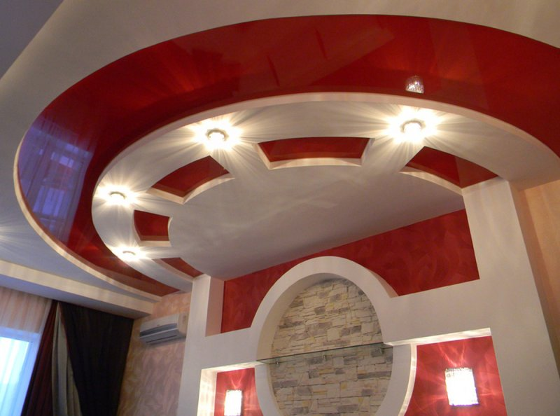 дизайн многоуровневых потолков из гипсокартона фото