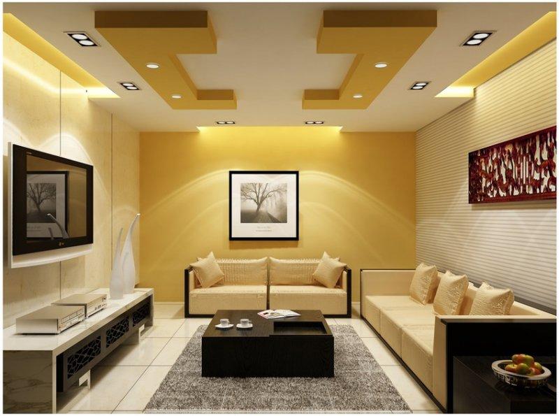 потолки из гипсокартона дизайн для зала