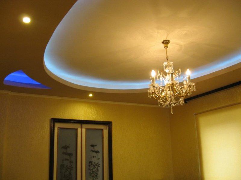 дизайн гипсокартонных потолков в гостиной