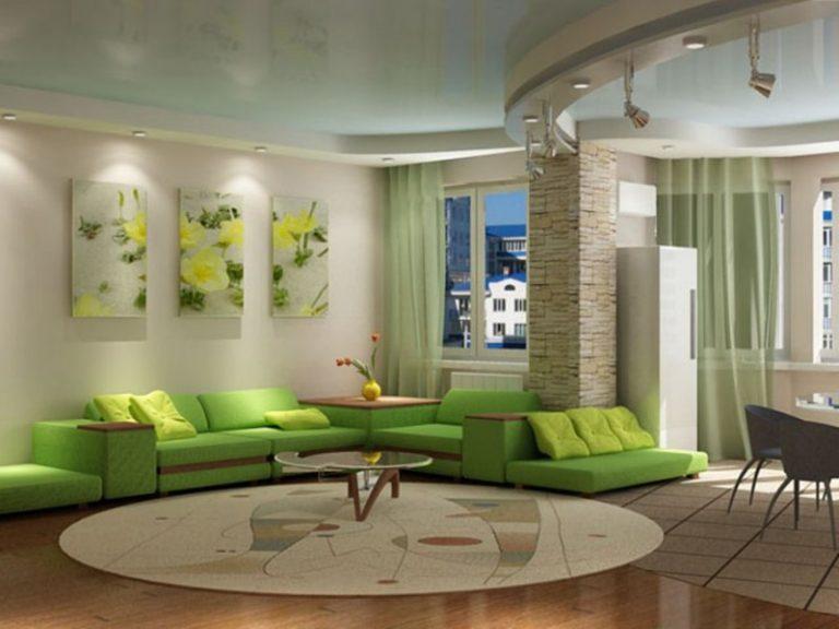 Гостиная в фисташковом цвете дизайн 31