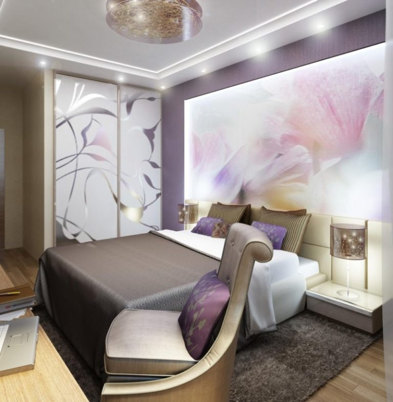 современный дизайн спальни в хрущевке