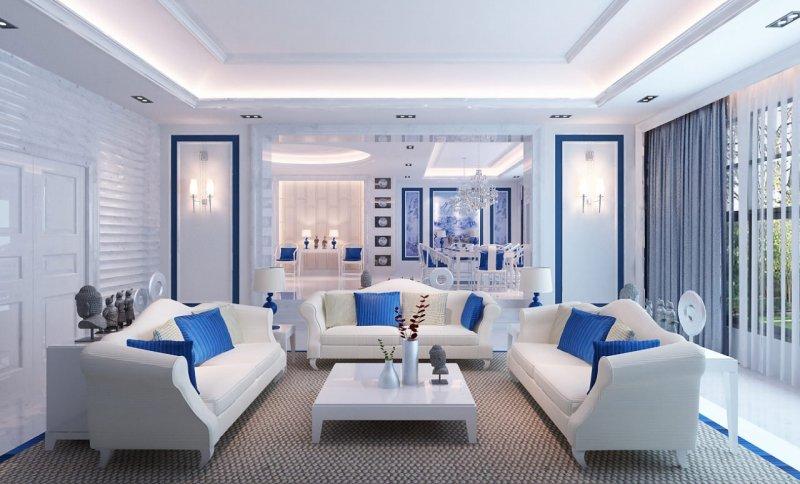 белый пол и белая мебель в интерьере