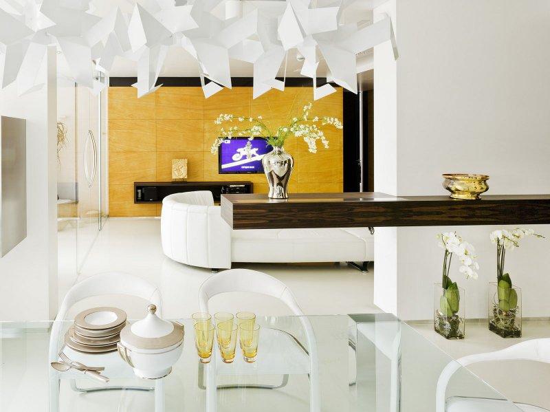 белый пол в интерьере квартиры