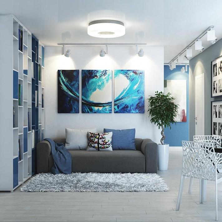 белый пол в интерьере гостиной