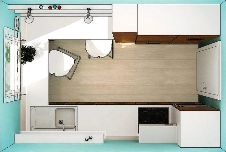 планировка кухни с холодильником