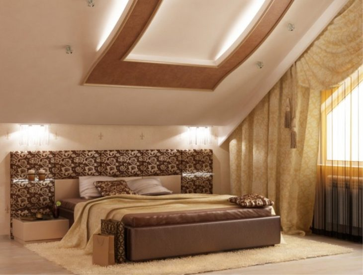 Cпальня на мансарде 75 фото современного интерьера