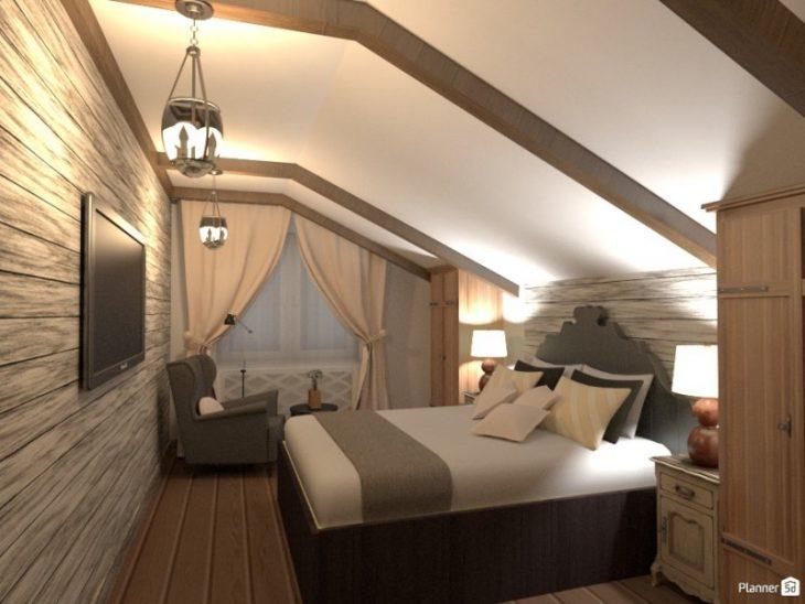 спальня в деревянной мансарде