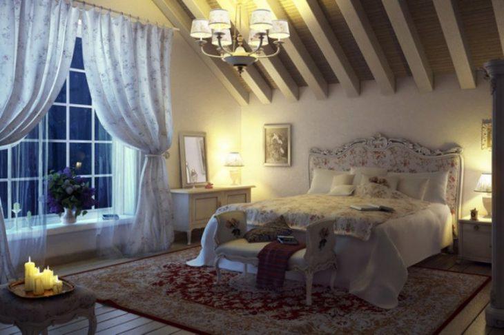 спальня в мансарде в стиле