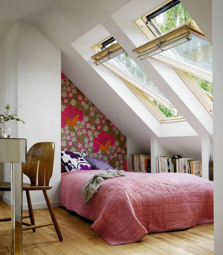 современная спальня в мансарде фото