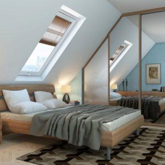 Современная спальня в мансарде фото дизайн