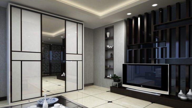 шкаф купе в интерьере гостиной