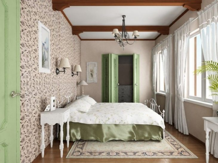 оформление окна спальни шторами