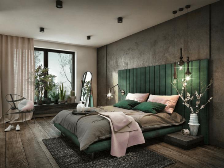 отделка стены над кроватью
